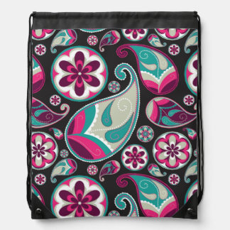 Paisley Pattern Pink and Teal Drawstring Bag