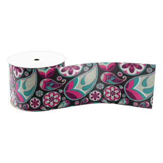 Paisley Pattern Pink and Teal Grosgrain Ribbon