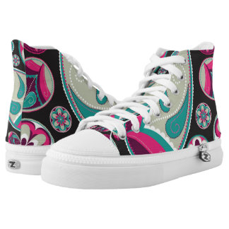 Paisley Pattern Pink and Teal High Tops