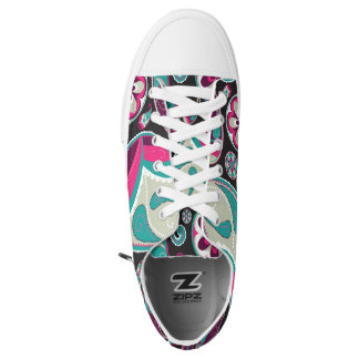 Paisley Pattern Pink and Teal Low Tops