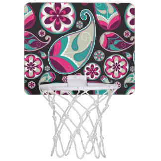 Paisley Pattern Pink and Teal Mini Basketball Hoop