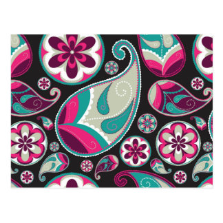 Paisley Pattern Pink and Teal Postcard