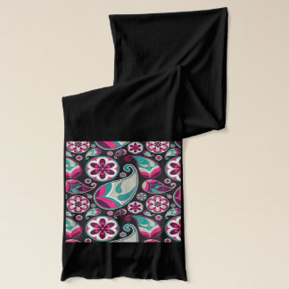 Paisley Pattern Pink and Teal Scarf