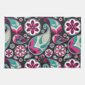 Paisley Pattern Pink and Teal Tea Towel