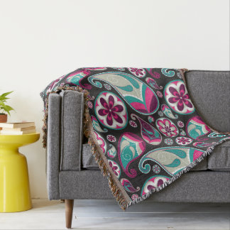 Paisley Pattern Pink and Teal Throw Blanket