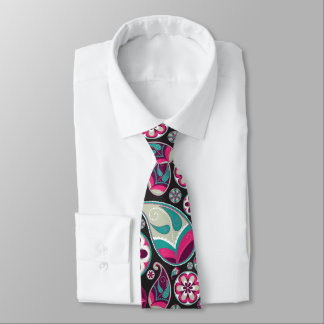 Paisley Pattern Pink and Teal Tie