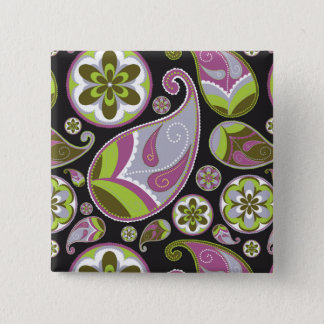 Paisley Pattern Purple Green 15 Cm Square Badge