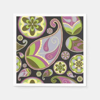 Paisley Pattern Purple Green Disposable Napkins