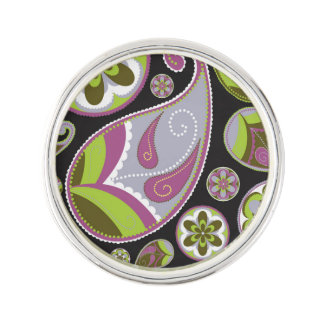 Paisley Pattern Purple Green Lapel Pin