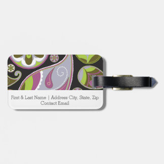 Paisley Pattern Purple Green Luggage Tag