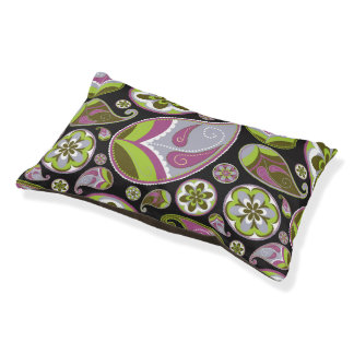 Paisley Pattern Purple Green Pet Bed
