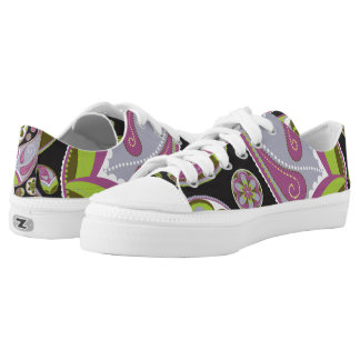 Paisley Pattern Purple Green Printed Shoes