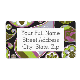 Paisley Pattern Purple Green Shipping Label