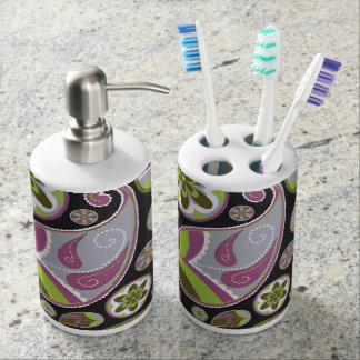 Paisley Pattern Purple Green Soap Dispenser And Toothbrush Holder