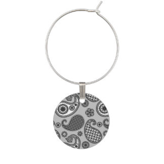 Paisley pattern, shades of grey, black and white wine charm
