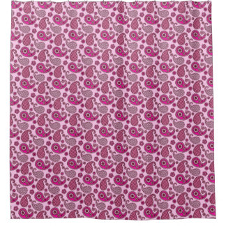 Paisley pattern, shades of light to deep pink shower curtain