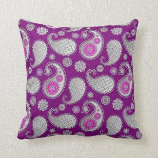 Paisley pattern, Silver Gray / Grey on Deep Purple Throw Pillow