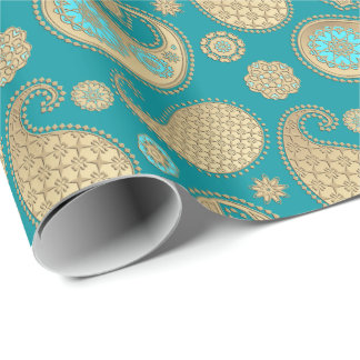 Paisley pattern, Soft Gold on Turquoise Wrapping Paper