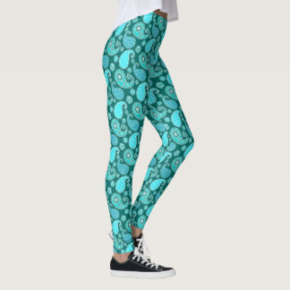Paisley pattern, Teal, Aqua and White Leggings