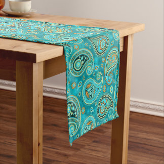 Paisley Pattern teal blue Short Table Runner