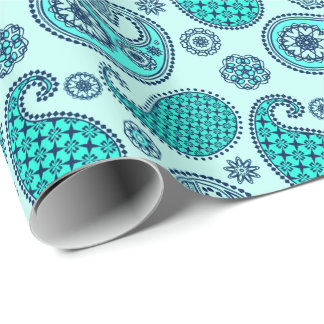 Paisley pattern, turquoise, aqua and navy wrapping paper