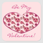 Paisley Pattern Valentine Heart Square Stickers