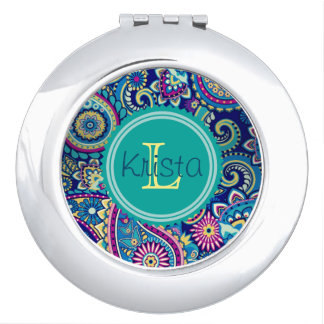 Paisley Pattern With Full Name Monogram Compact Mirrors