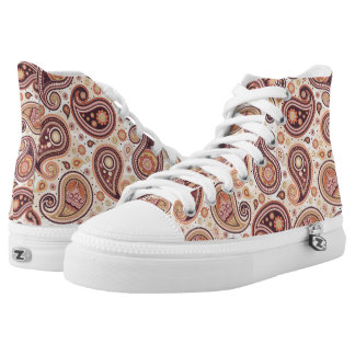 Paisley pattern Yellow and brown High Tops