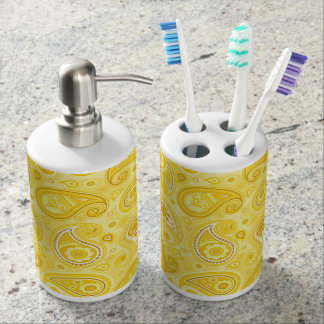 Paisley pattern yellow elegant bathroom set