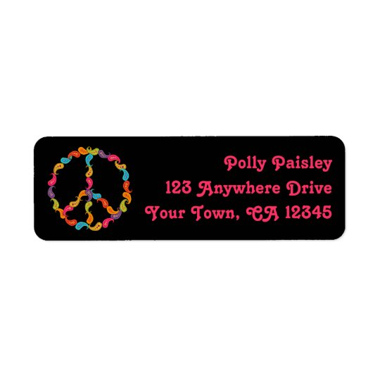 Paisley Peace Sign Return Address Label