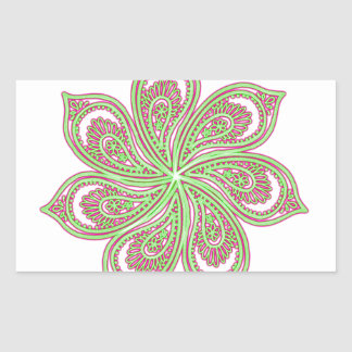 Paisley Pinwheel Pink Green Rectangular Sticker
