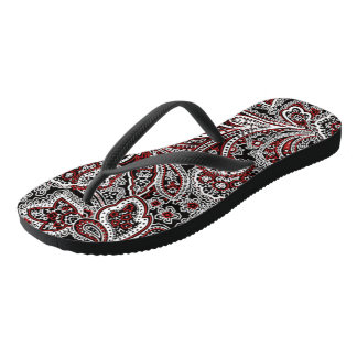 Paisley Red & Black Thongs
