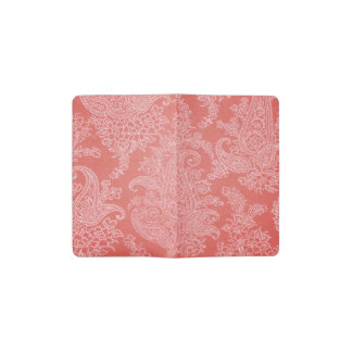 Paisley red coral cloth floral pattern pocket moleskine notebook