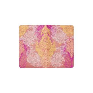 Paisley red orange cloth floral pattern pocket moleskine notebook