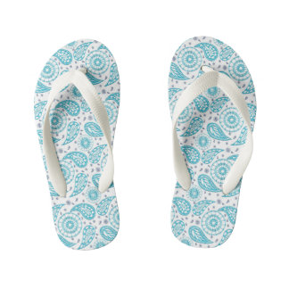 Paisley teal pattern. kid's thongs