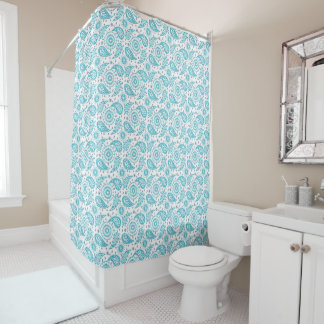 Paisley teal pattern. shower curtain