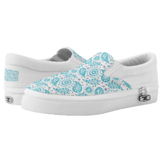 Paisley teal pattern. slip on shoes