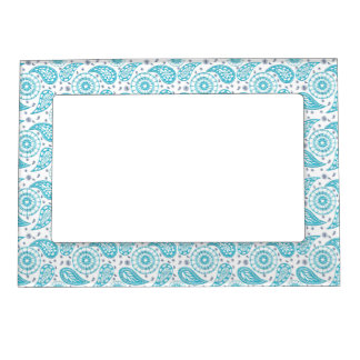 Paisley teal seamless pattern. magnetic picture frame
