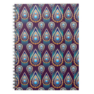 Paisley teardrops on spiral notebook
