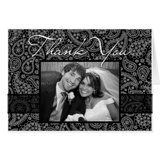 """Paisley """"Thank You"""" Photocard Stationery Note Card"""