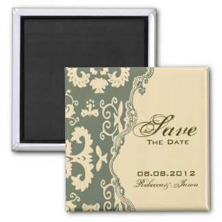 paisley western country wedding SAVE THE DATE Square Magnet