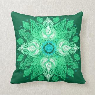 Paisley wheel emerald green sun flower pillow