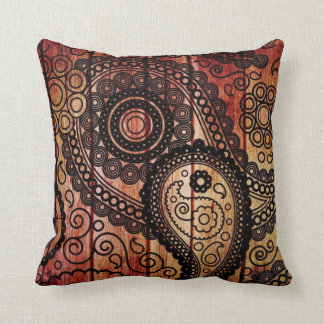 paisley wood panels pillow