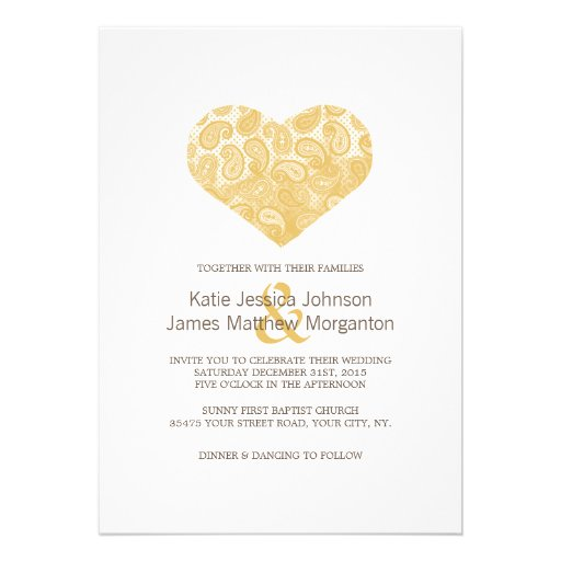 Paisley Yellow Heart Wedding Invitation
