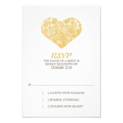 Paisley Yellow Heart Wedding Invitation RSVP
