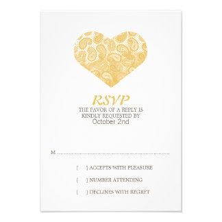 Paisley Yellow Heart Wedding Invitation RSVP