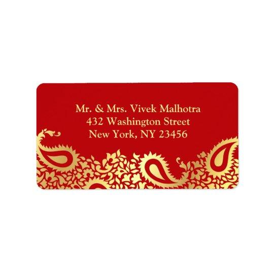 Paisleys Elegant Indian Shipping Address Label
