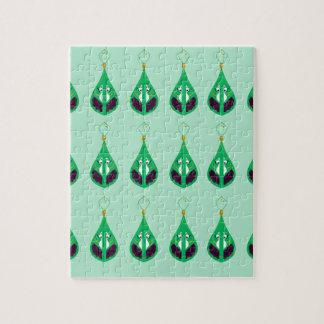 Paisleys emerald green. Original drawing Jigsaw Puzzle