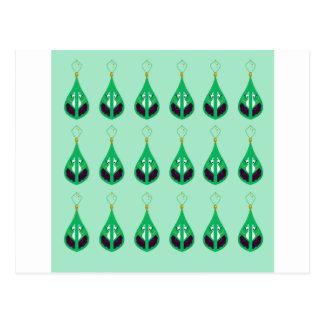 Paisleys emerald green. Original drawing Postcard
