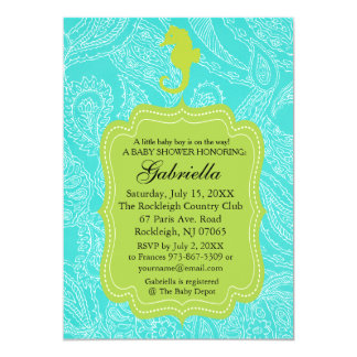 Paisly Blue Seahorse Baby Shower Invitation